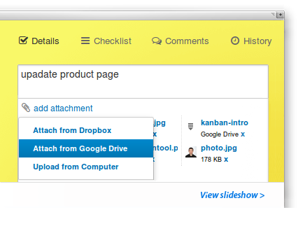Kanban Tool board with online documents